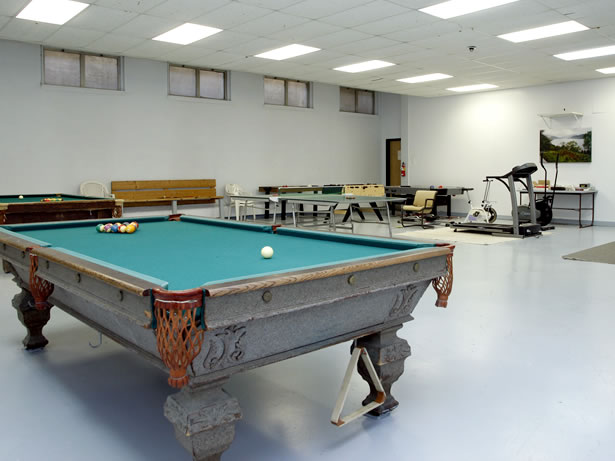 Pool table in lower lounge